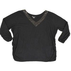 Lane Bryant Plus 22/24 Black   Blouse Cotton Blend